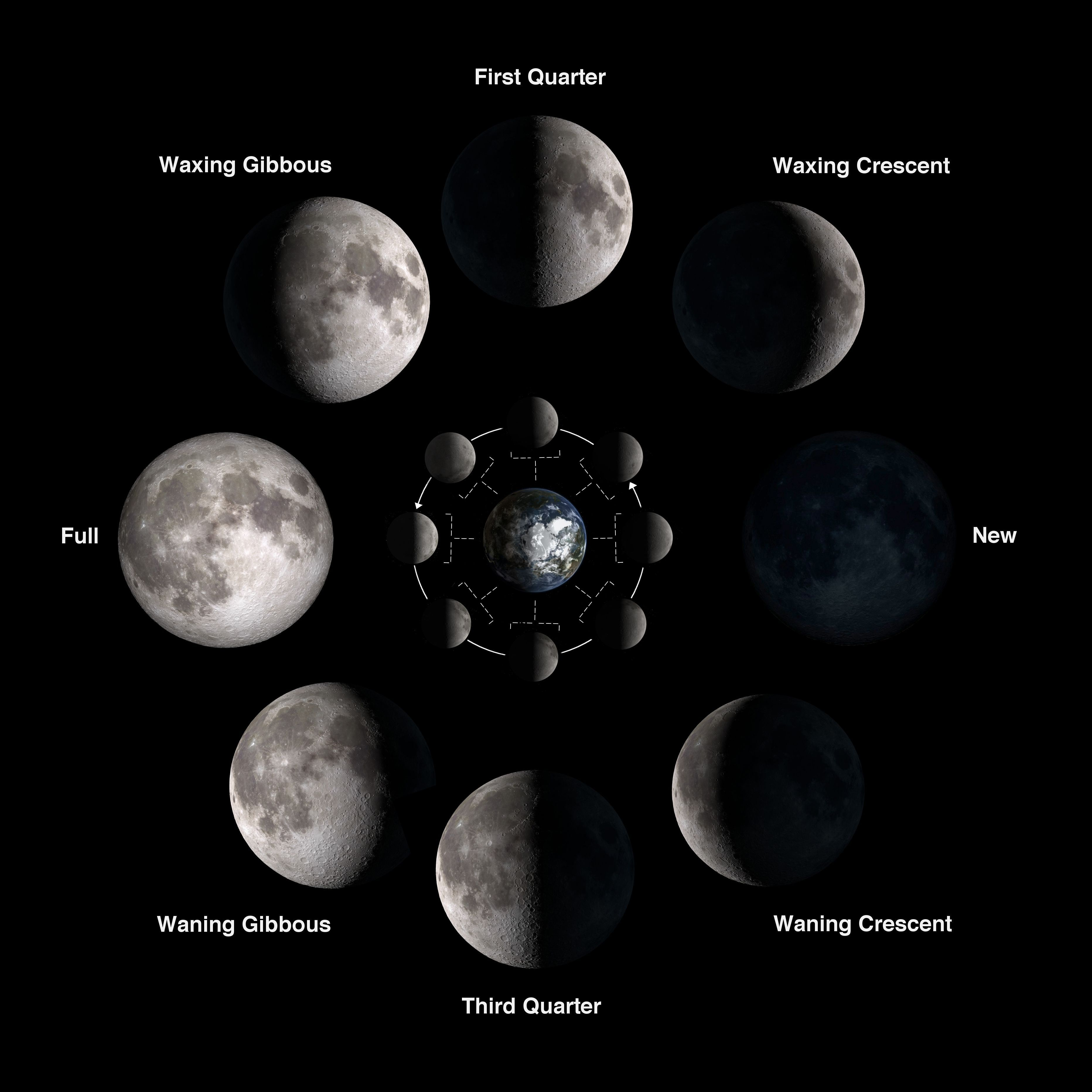 Las fases de la luna según ESO y NASA